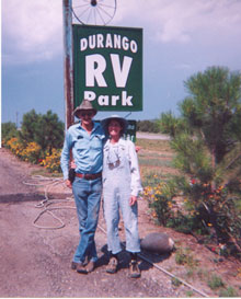Dawn and Cotton Read under Durango RV Park sign